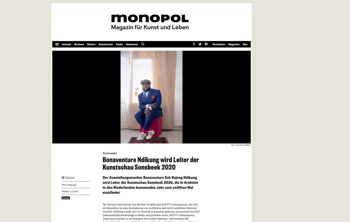 Bonaventure Soh Bejeng Ndikung (Curator) for Monopol