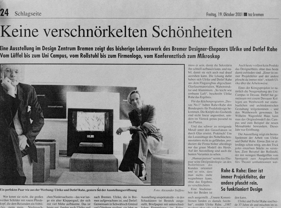 "Das Designer-Ehepaar ""Rahe & Rahe"" für die TAZ"