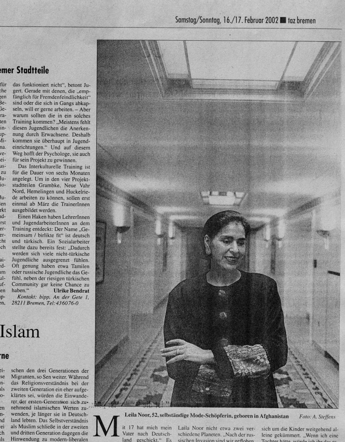 Leila Noor, Mode Designerin aus Afghanistan für die TAZ