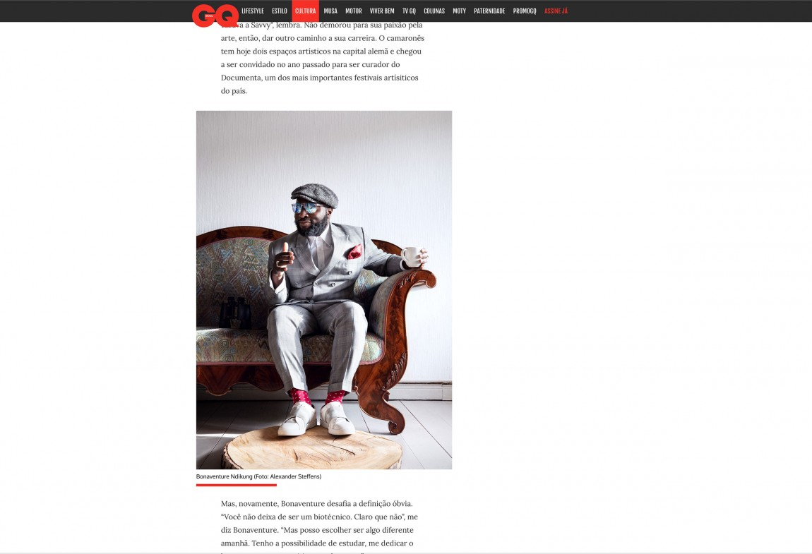 Bonaventure Soh Bejeng Ndikung (Curator) for GQ-Brazil